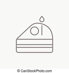 Slice of cake with candle line icon.