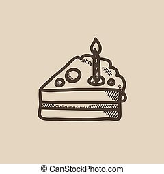 Slice of cake with candle sketch icon.