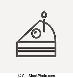 Slice of Cake with candle thin line icon