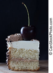 slice of cake with cherry on top