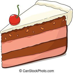 Slice of cake with cherry