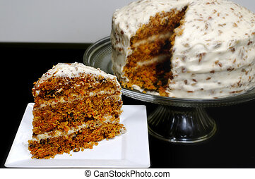 Slice of Carrot Cake - Slice of carrot cake on white plate ...
