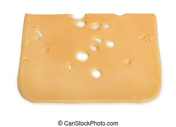 Slice of cheese isolated on white background.