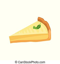 Slice of cheesecake with green leaf on top. Tasty lemon...