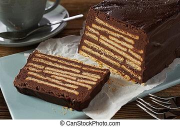 Slice of chocolate bar-shaped cake