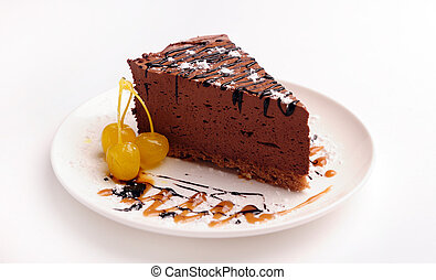 Slice of chocolate cream cake. - Slice of chocolate cream ...