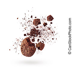 slice of chocolate oatmeal cookies on a white background