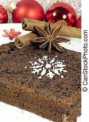Slice of Christmas cake