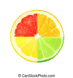 citrus  - slice of citrus on white background