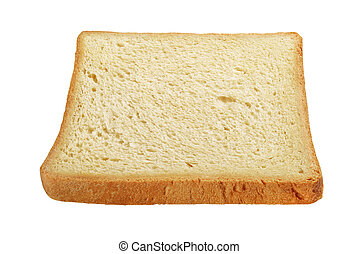 Slice of clean toasted bread isolated on white background.