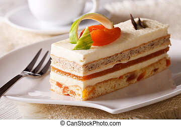 delicious apricot cake on a plate closeup