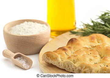 slice of focaccia and recipe ingredients