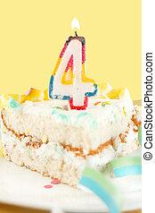 slice of fourth birthday cake