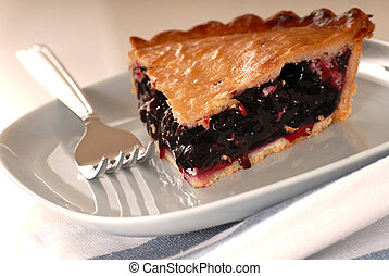 Slice of fresh blueberry pie on a plate
