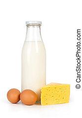Slice of fresh cheese and milk
