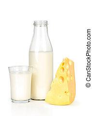 Slice of fresh cheese and milk bott