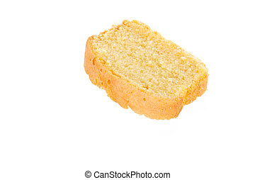 Slice of fresh homemade butter cake
