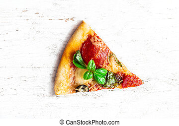 Slice of fresh Italian classic original Pepperoni Pizza on white wooden rustic table. Cheese Pizza on white background, top view. Copy space