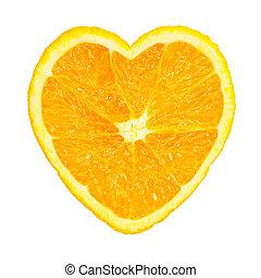 Slice of fresh orange heart shaped isolated on white ...