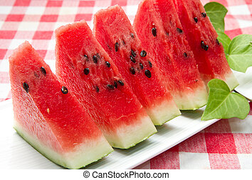 watermelon - slice of fresh red watermelon