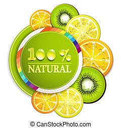 Slice of fruits - Slice of orange, kiwi, and lemon with...