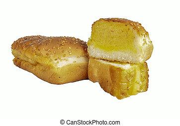 garlic bread with white background