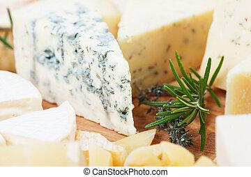 Slice of gorgonzola cheese