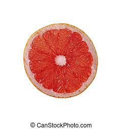Slice of grapefruit isolated on white background