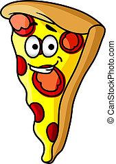 Slice of happy cheesy pepperoni pizza