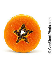 Slice of juicy papaya fruit standing on white background
