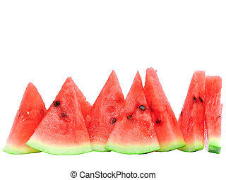 Slice of juicy watermelon. Isolated over white.
