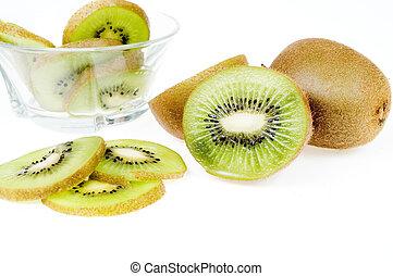 Slice of kiwi isolated on white background