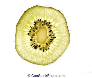 Slice of kiwi on white background