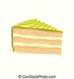 Slice of layered cake with green butter cream. Sweet and tasty pie. Delicious dessert. Flat vector design for bakery store or menu
