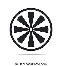 Slice of lemon icon vector illustration on white background