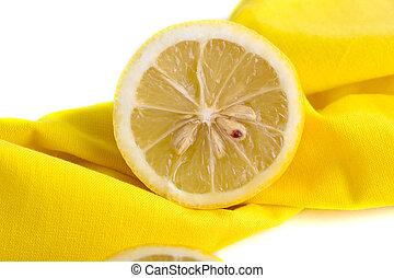 slice of lemon on a napkin