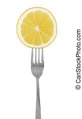 slice of lemon on the fork