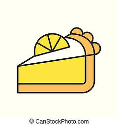slice of lemon pie, sweets and pastry set, filled outline icon