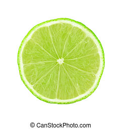 lime - slice of lime on white background