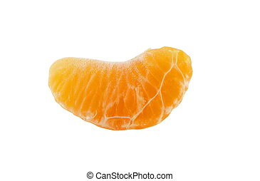 slice of mandarine closeup over white
