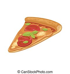 Slice of Margherita pizza hava. Isolated vector flat...