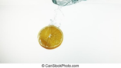Slice of Orange, citrus sinensis, Fruits falling into Water against White Background, Slow Motion