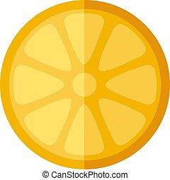 Slice of orange isolated on white background. Vector illustration.