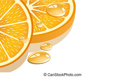 Slice of orange on a white background