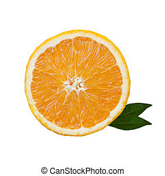 slice of orange with green leaves isolated