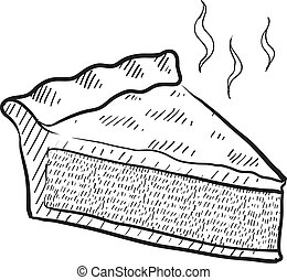 Slice of pie sketch - Doodle style slice of pie illustration...