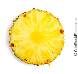 Slice of pineapple isolated on white