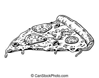 Slice of pizza engraving vector illustration