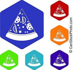 Slice of pizza icons set hexagon