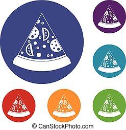 Slice of pizza icons set